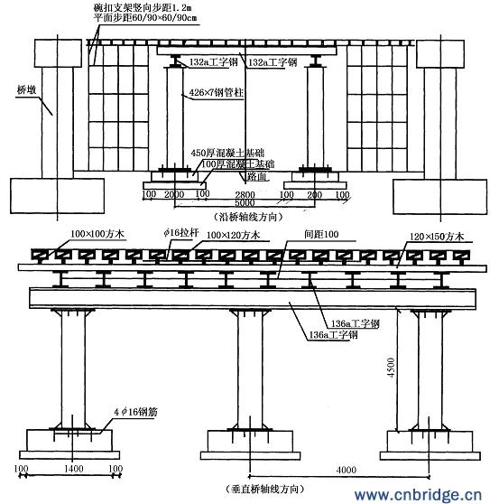 中国桥梁网:轻轨线桥工程跨路施工支架的设计